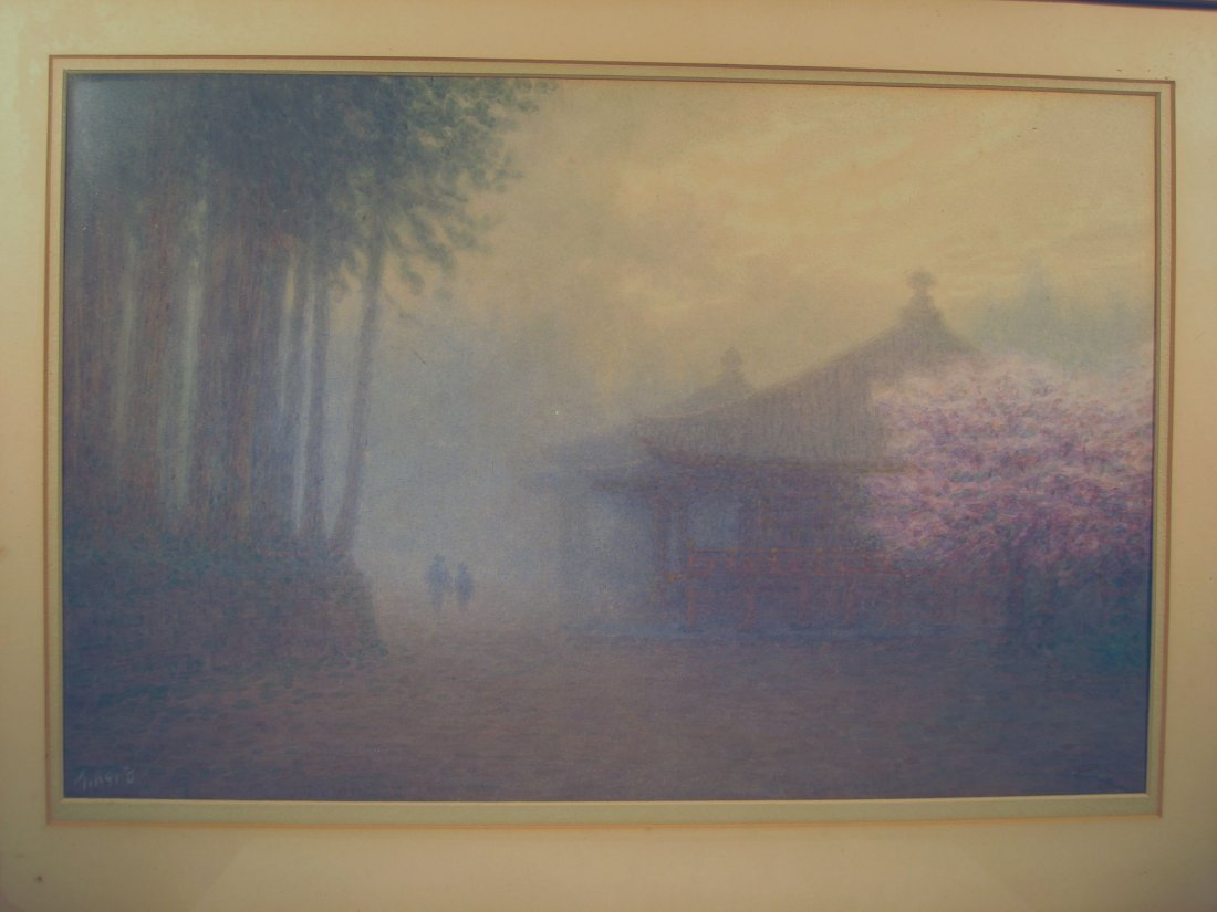 Japanese Watercolor Foggy Scene Cherry Blossoms M Kano - 3