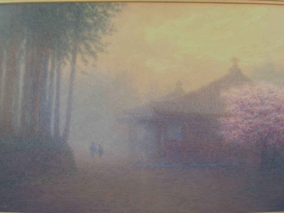 Japanese Watercolor Foggy Scene Cherry Blossoms M Kano - 4