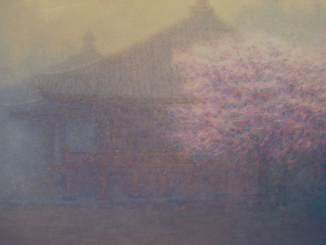 Japanese Watercolor Foggy Scene Cherry Blossoms M Kano - 7