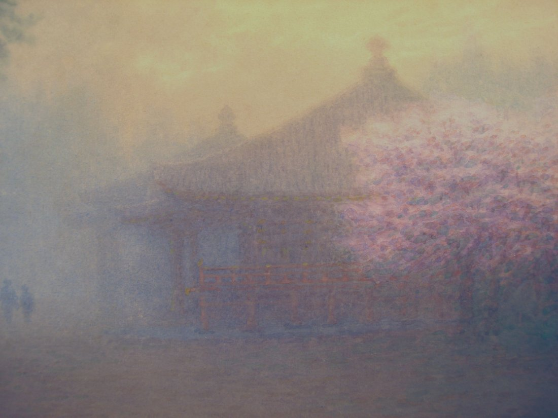 Japanese Watercolor Foggy Scene Cherry Blossoms M Kano - 8