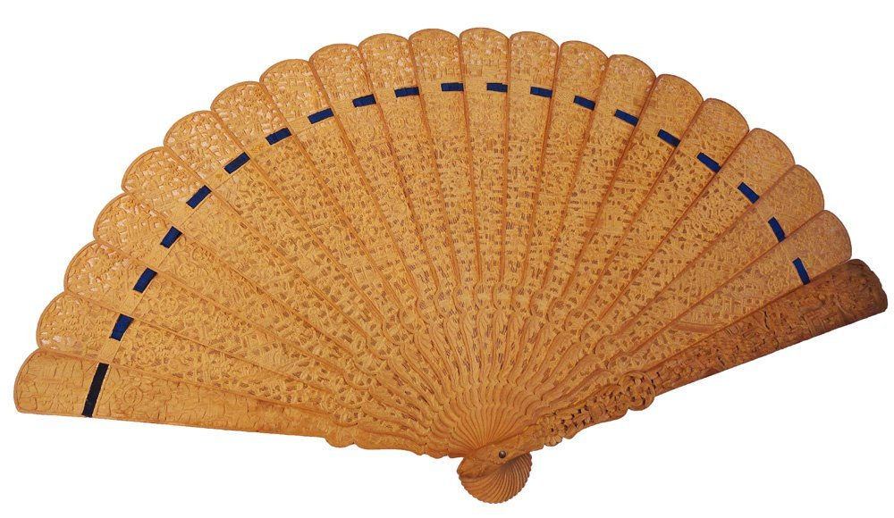 Antique Chinese Export Carved Sandalwood Fan