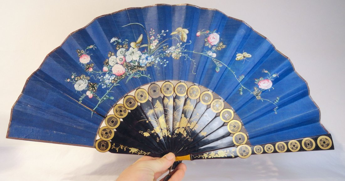 Antique Chinese Export Lacquered and Painted Fan