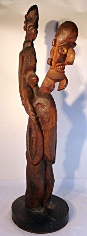 Very Rare Easter Island Moai Kavakava Double Figure