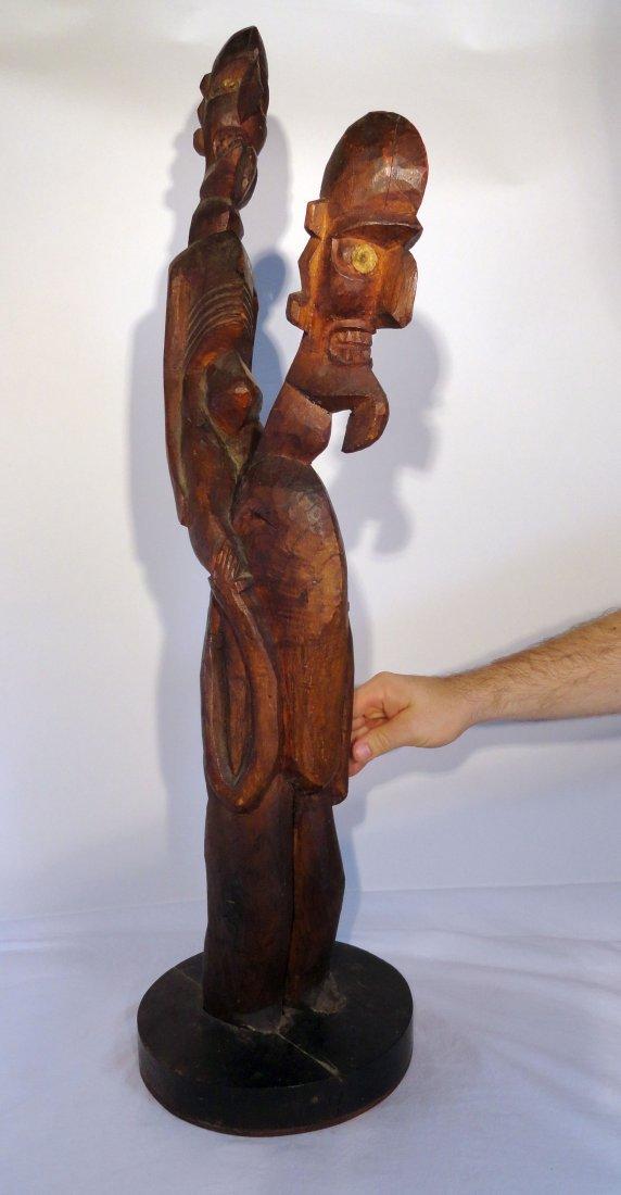 Very Rare Easter Island Moai Kavakava Double Figure - 2