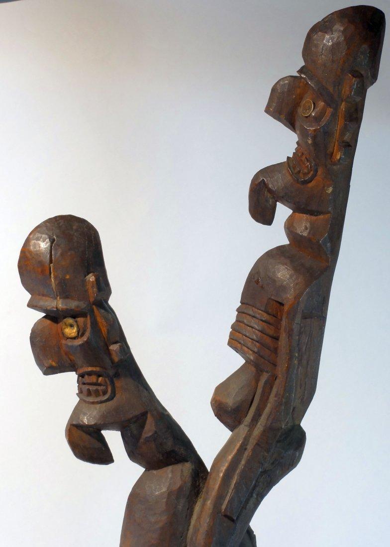 Very Rare Easter Island Moai Kavakava Double Figure - 9