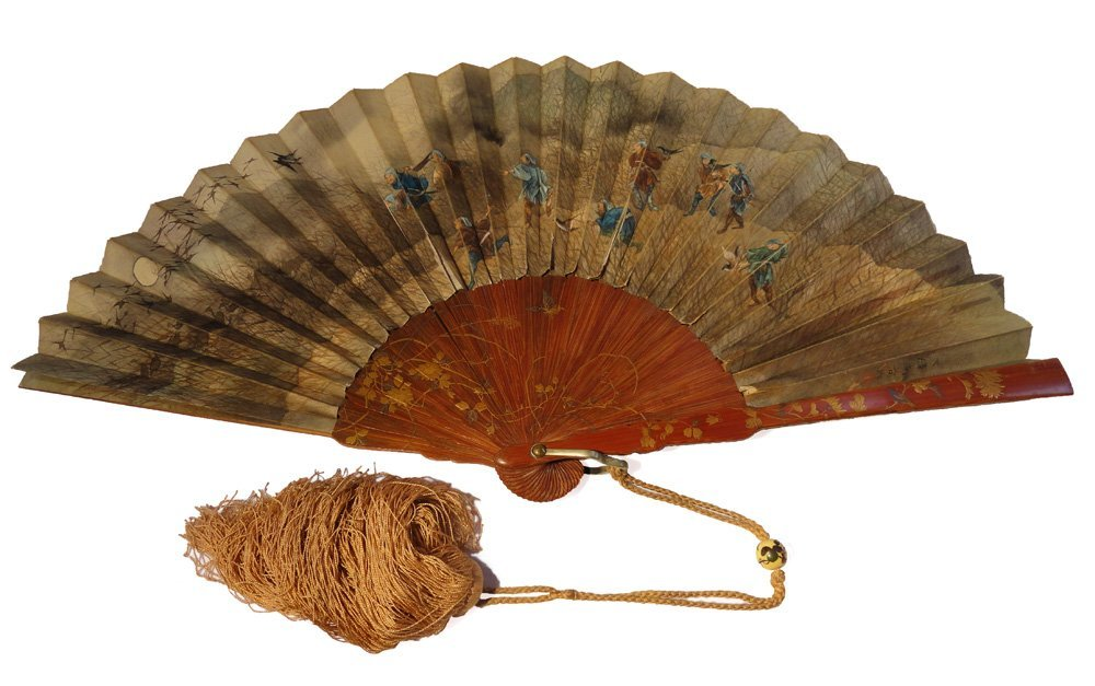 Important Lacquer Painted Signed Japanese Bamboo Fan