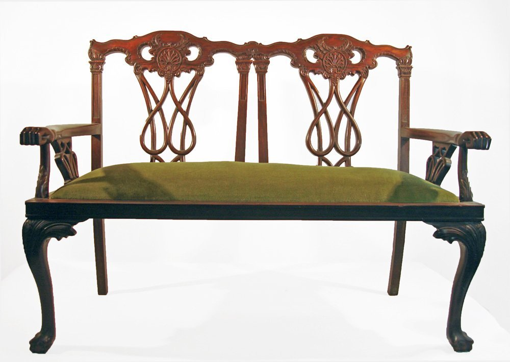 Chinese Export Rosewood Chippendale Style Settee Chair