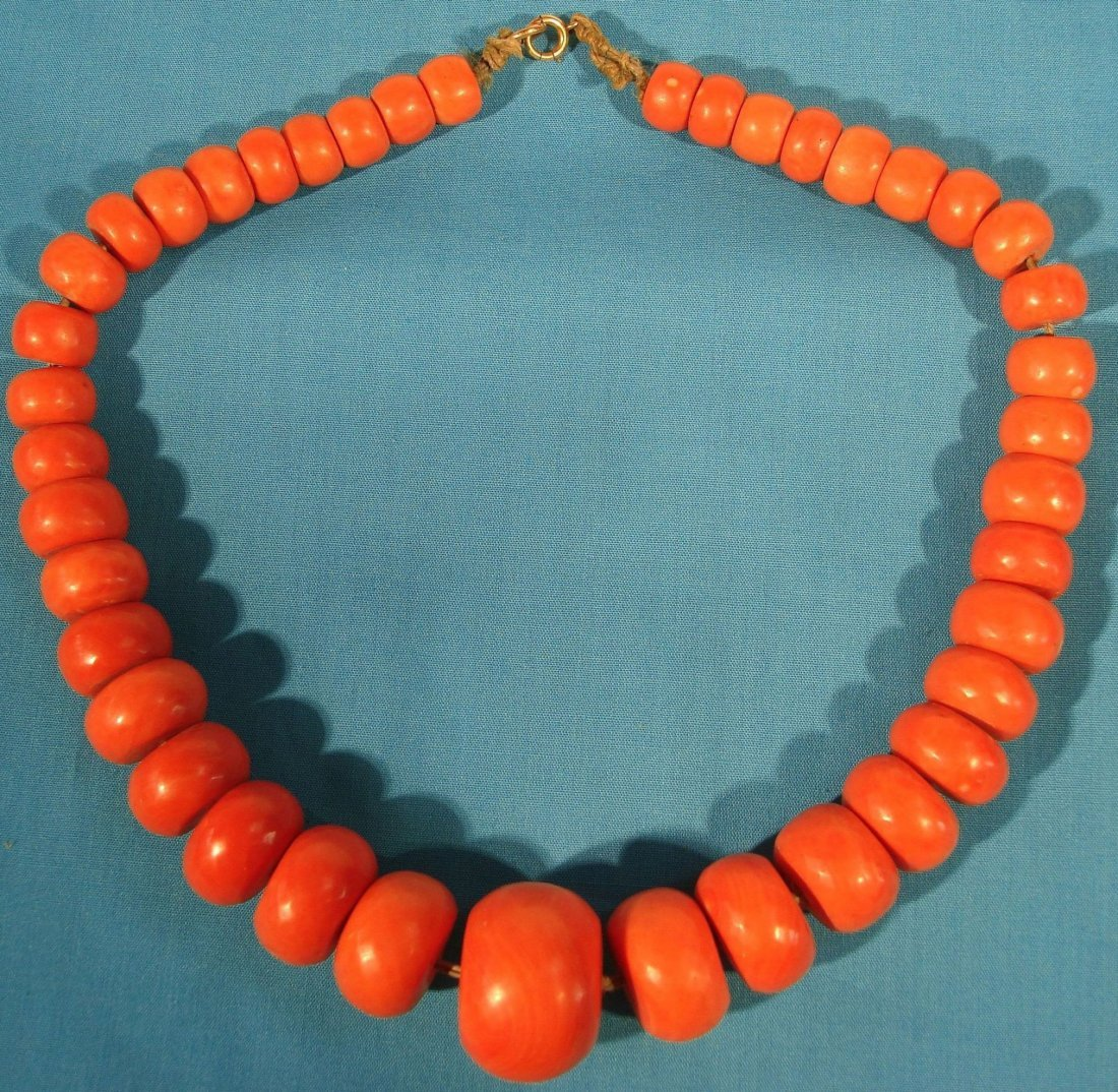 Antique Faceted Chinese Red Coral Necklace Large Beads