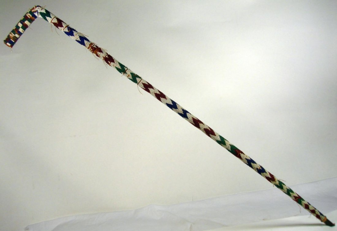 American Indian Beaded Walking Stick  Cane 19th Century