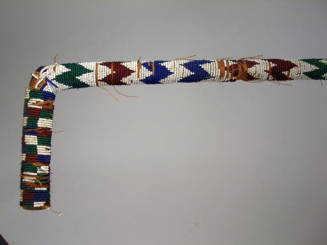 American Indian Beaded Walking Stick  Cane 19th Century - 4