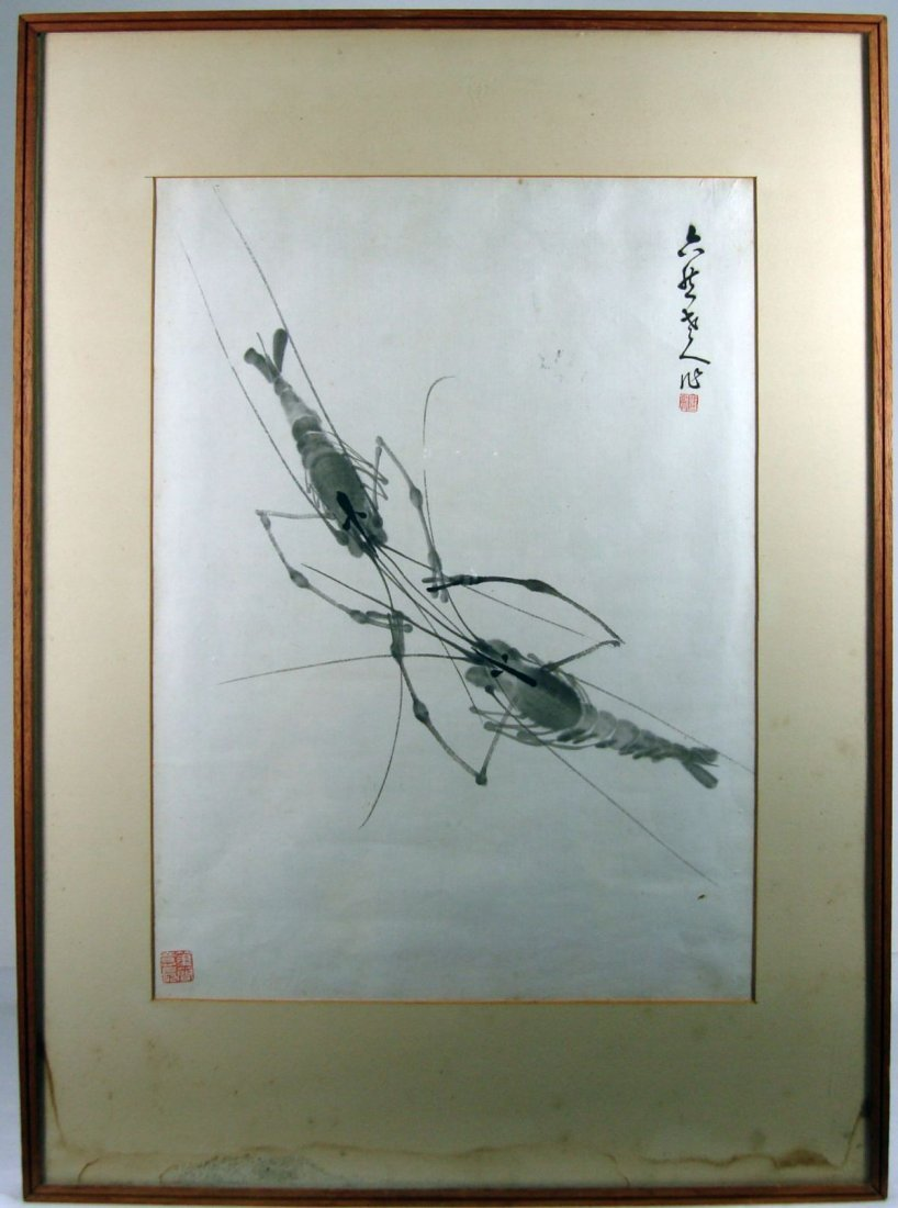 Connecticut watercolor artists directory - Chinese Watercolor Of Two Crayfish Artist Signed Seal