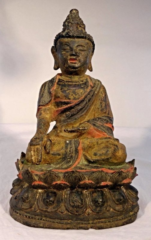Early Chinese Ming Bronze Buddha Gilt Gold Lacquer