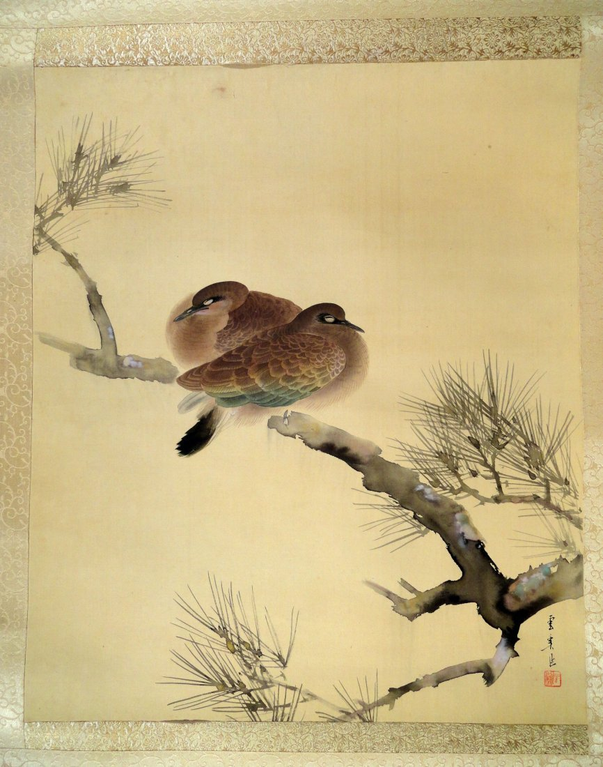 Antique Japanese Scroll  Painting  Doves  Pine Branch