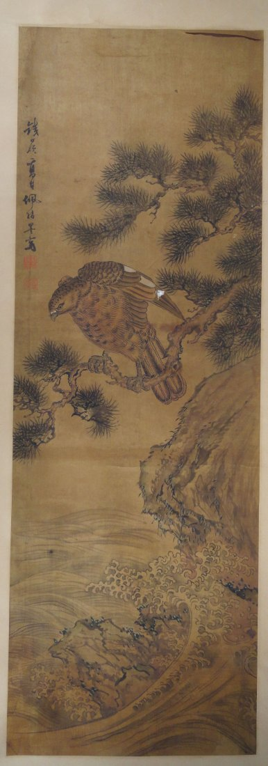 Japanese or Chinese Scroll Painting of a Hawk Signed