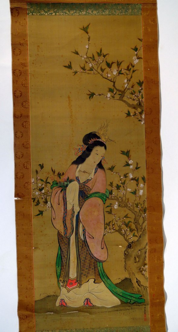 Chinese Or Japanese Scroll Painting Kwan Yin Signed