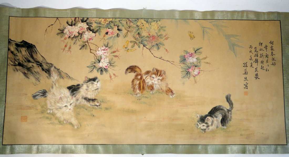 20th Century Chinese Scroll Painting of Cats  Signed