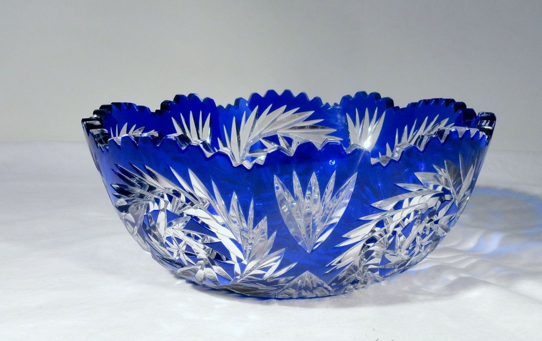 Signed Hawkes American Blue Cut To Clear Cut Glass Bowl