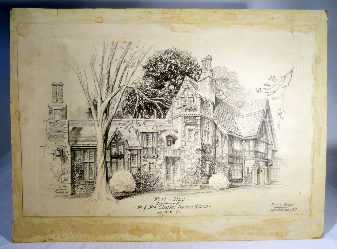 "Pen Ink ""Chimneys"" Mill Neck Charles Porter Wilson Home"