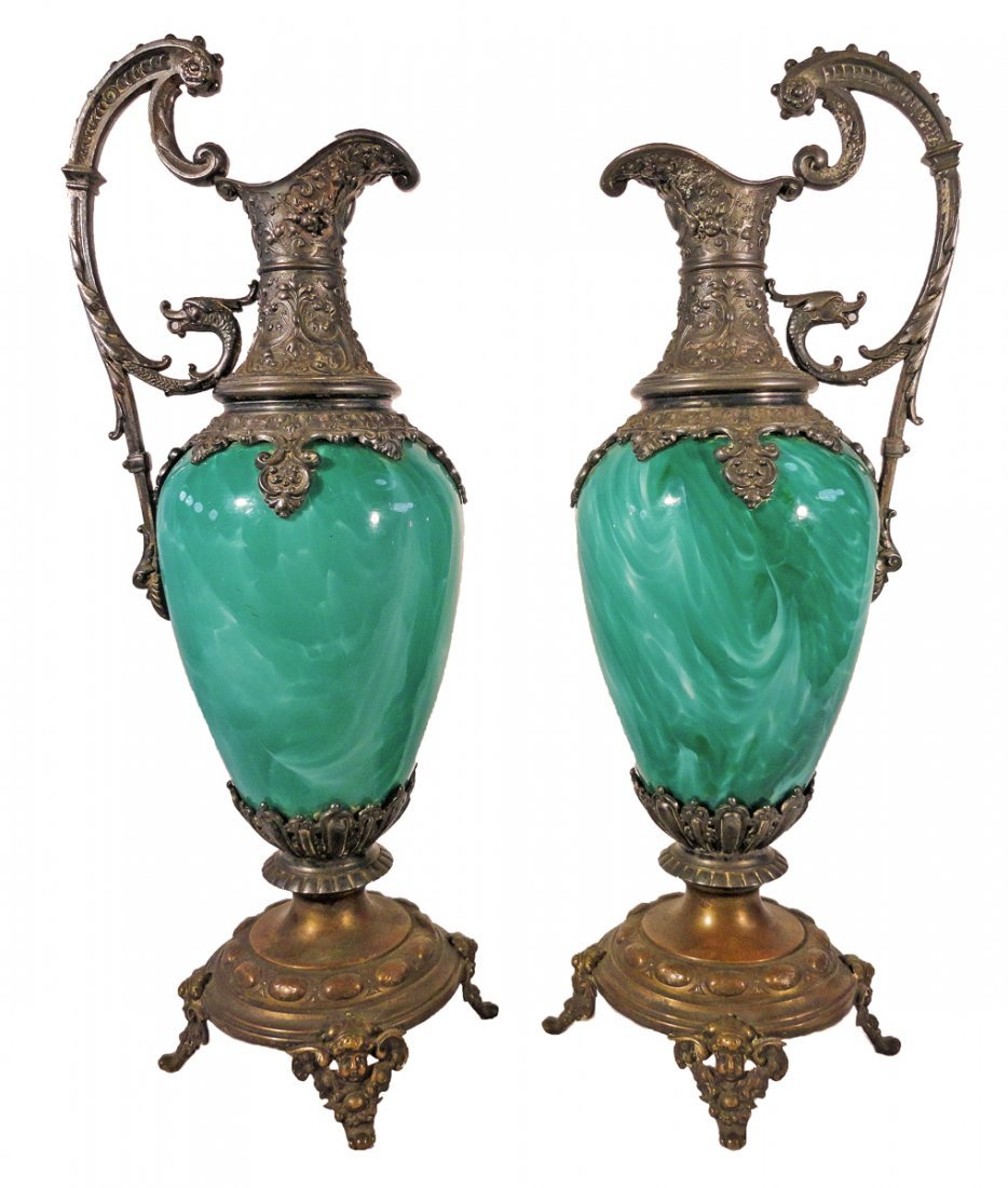 Fine Pair of WMF Art Glass Ewers Claret Jugs 1870's