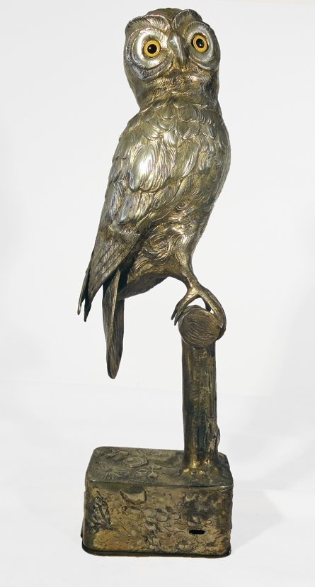 South German Gilt & Silver Plated Owl Music Box
