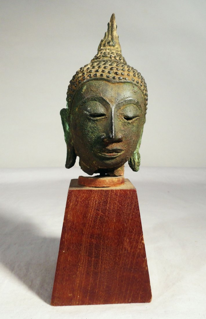 South East Asian Thai Buddha Head Fine Bronze