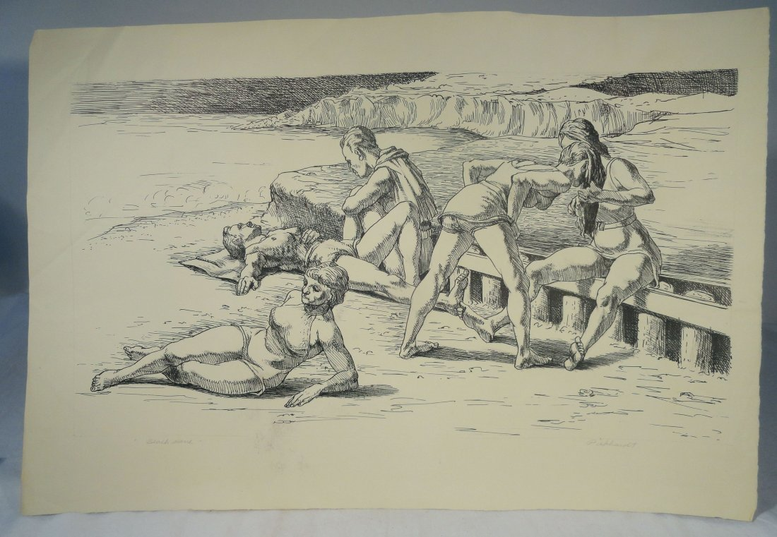 Beach Scene Pen and Ink Drawing Carl E Pickhardt Jr