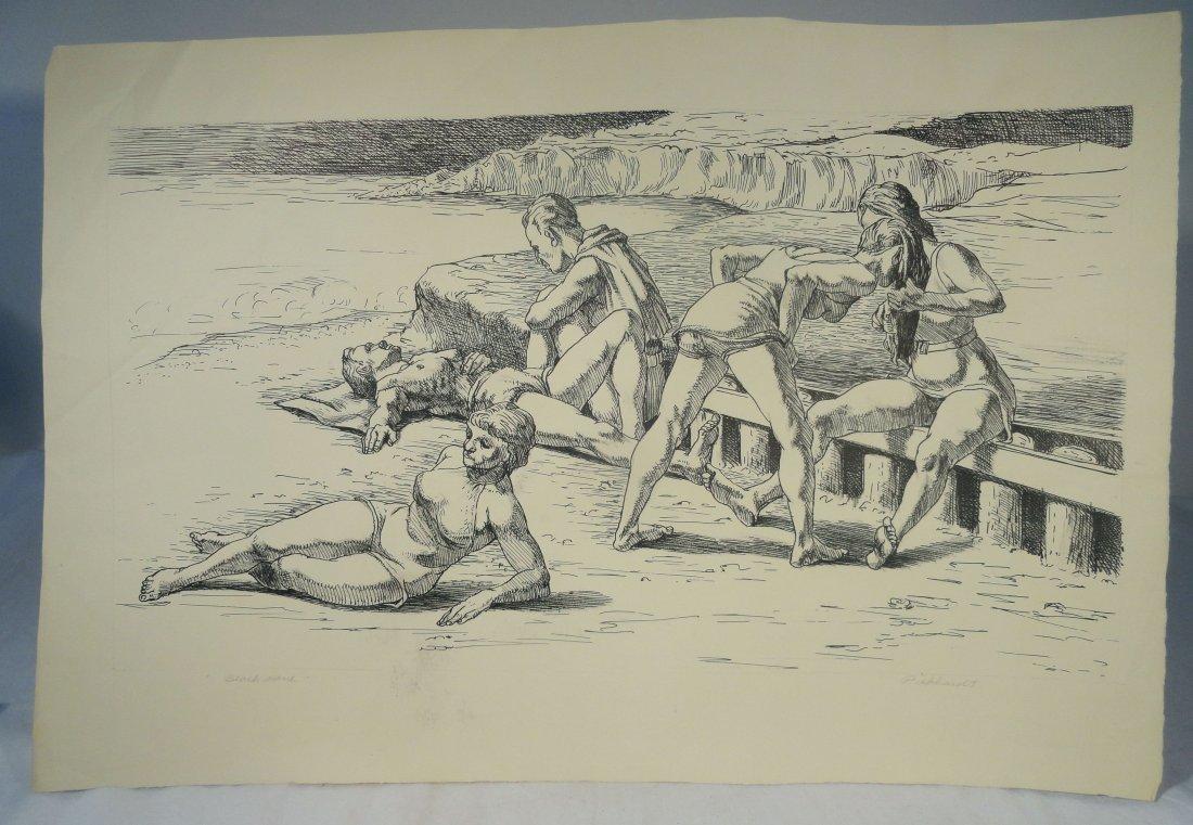 Beach Scene Pen and Ink Drawing Carl E Pickhardt Jr