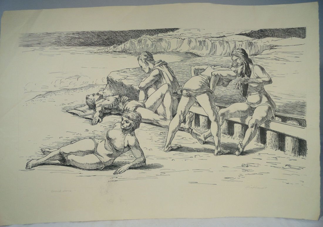Beach Scene Pen and Ink Drawing Carl E Pickhardt Jr - 2