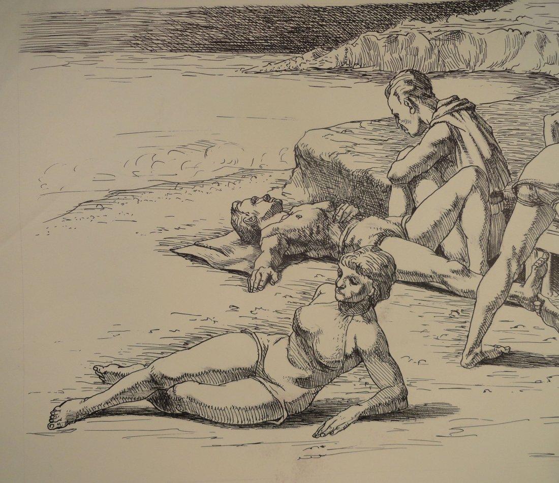 Beach Scene Pen and Ink Drawing Carl E Pickhardt Jr - 3