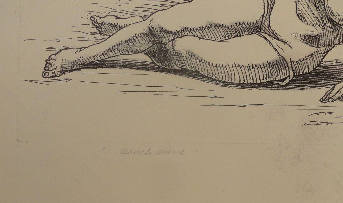 Beach Scene Pen and Ink Drawing Carl E Pickhardt Jr - 5