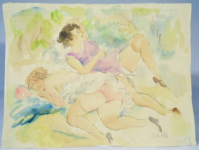Otto Schoff Original Watercolor Painting 1884-1938 Two