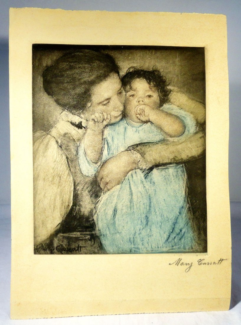 Signed Mary Cassatt Colored Lithograph Little Ann