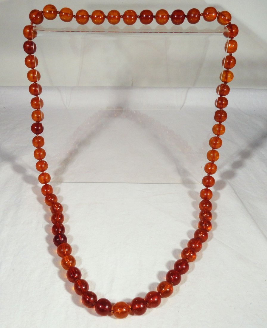 Honey Baltic Amber Bead Necklace Cognac Color 86g