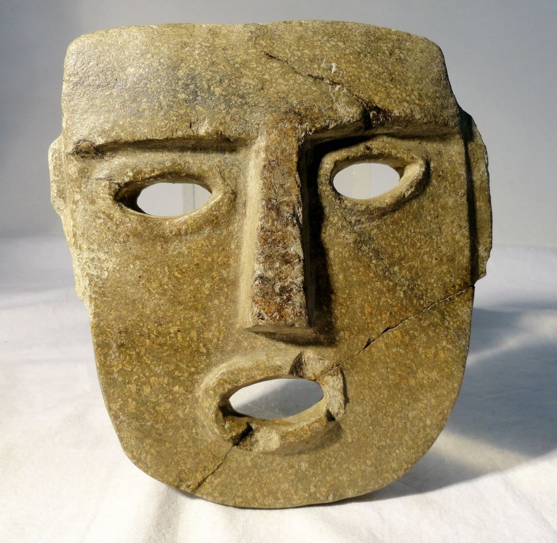 Chontal or Mezcala Pre-Columbian Carved Stone Mask