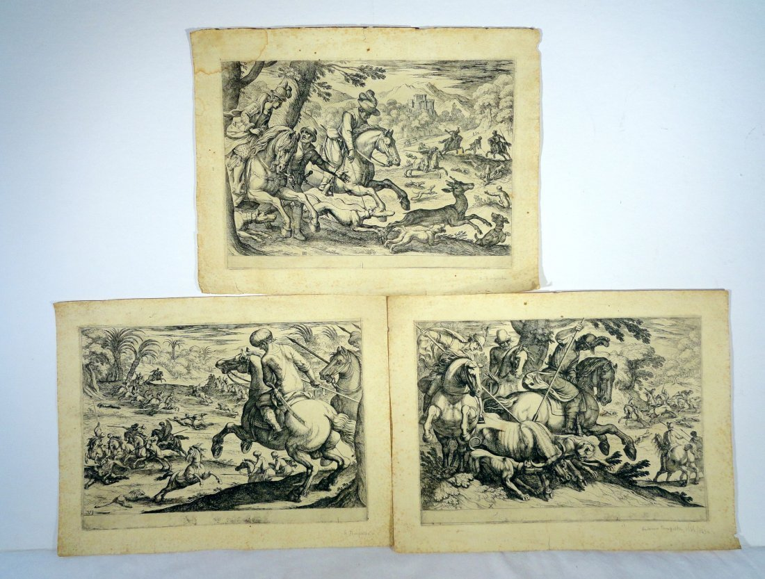 3 Antonio Tempesta Woodcut Etchings Hunting Prints