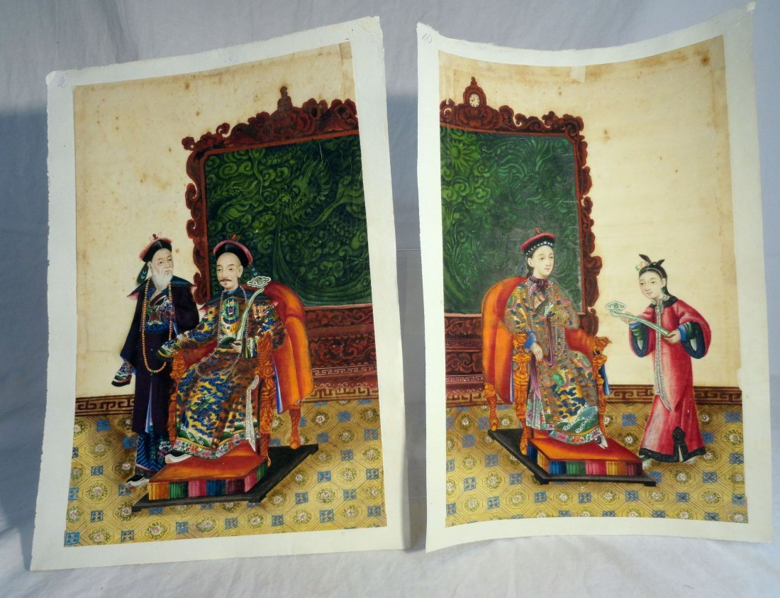 Pair Chinese Export Painted Gouaches 18th / 19th cent