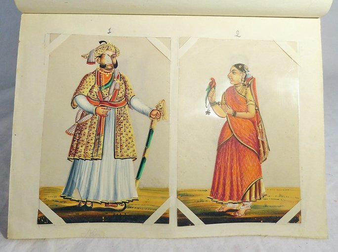 Set of 12 Indian Miniature Gouache Paintings on Mica