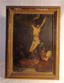 Old Master Crucifiction Oil Painting Oak Panel