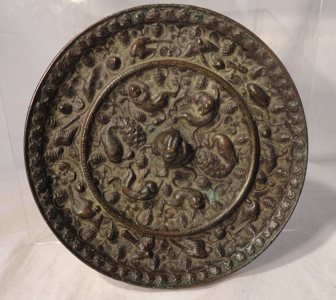 Chinese Bronze Mirror Tang Dynasty Grapes and Beasts