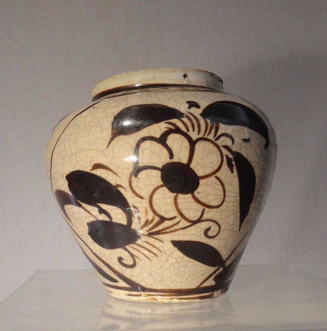 Chinese Cizhou Stoneware Vase Yuan Ming Dynasty Black