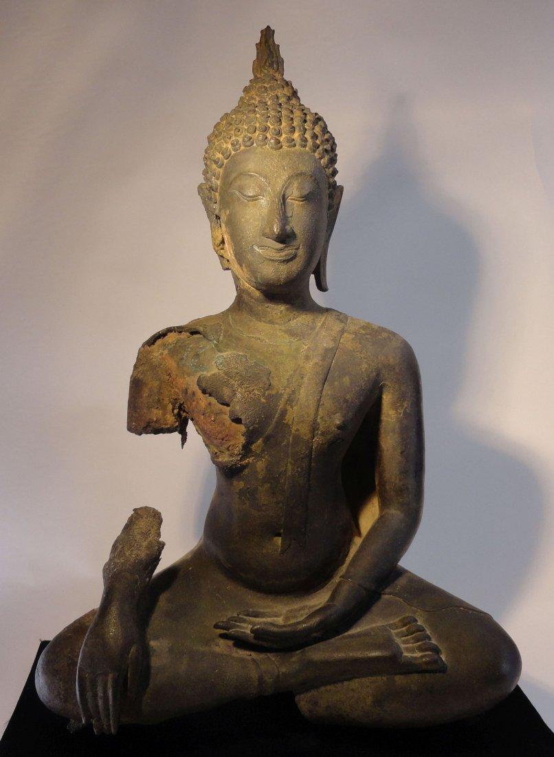 Large Bronze Seated Thai Buddha Sukhothai