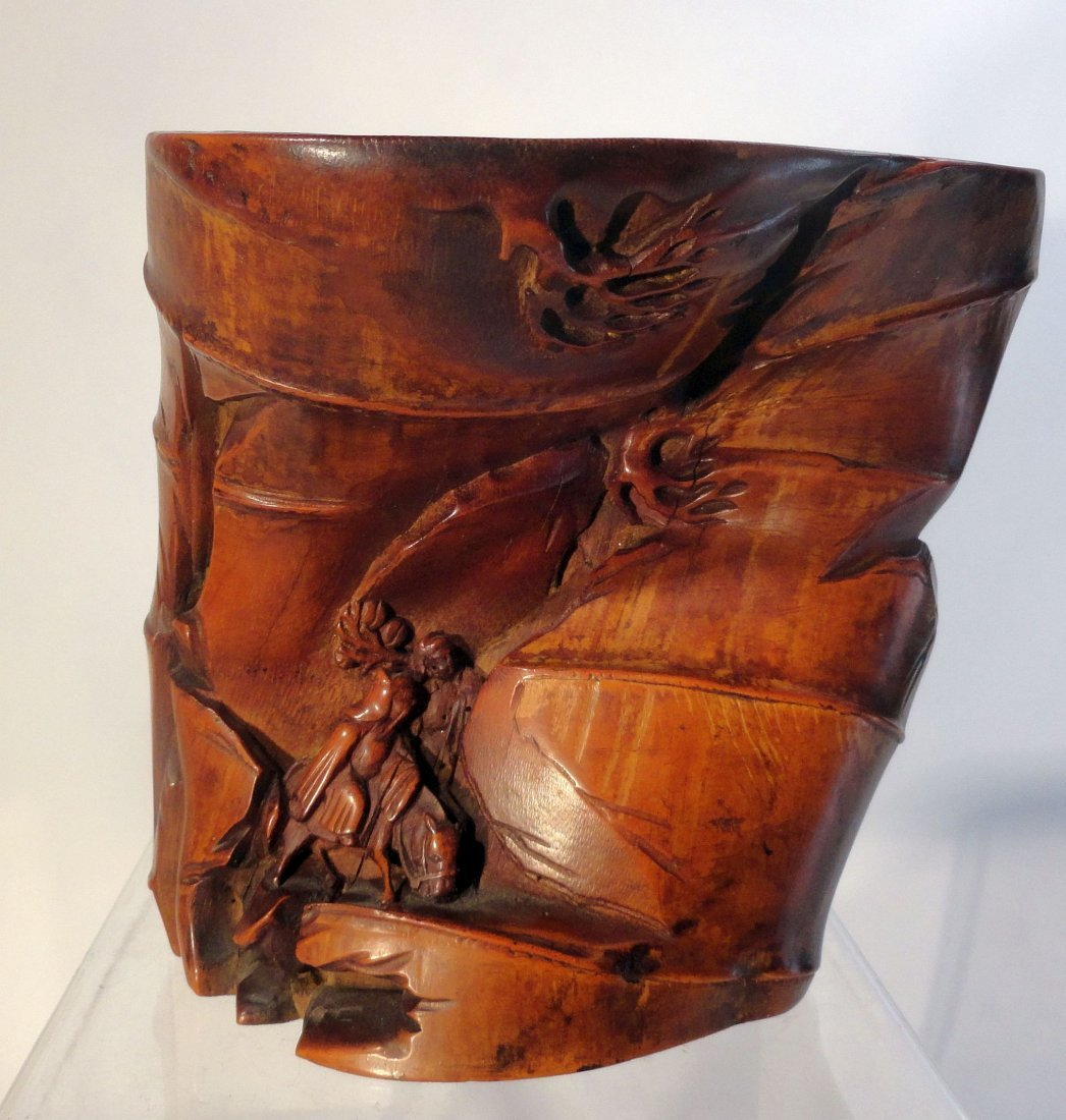 Fine Chinese Carved Bamboo Brushpot Scholar Object Qing