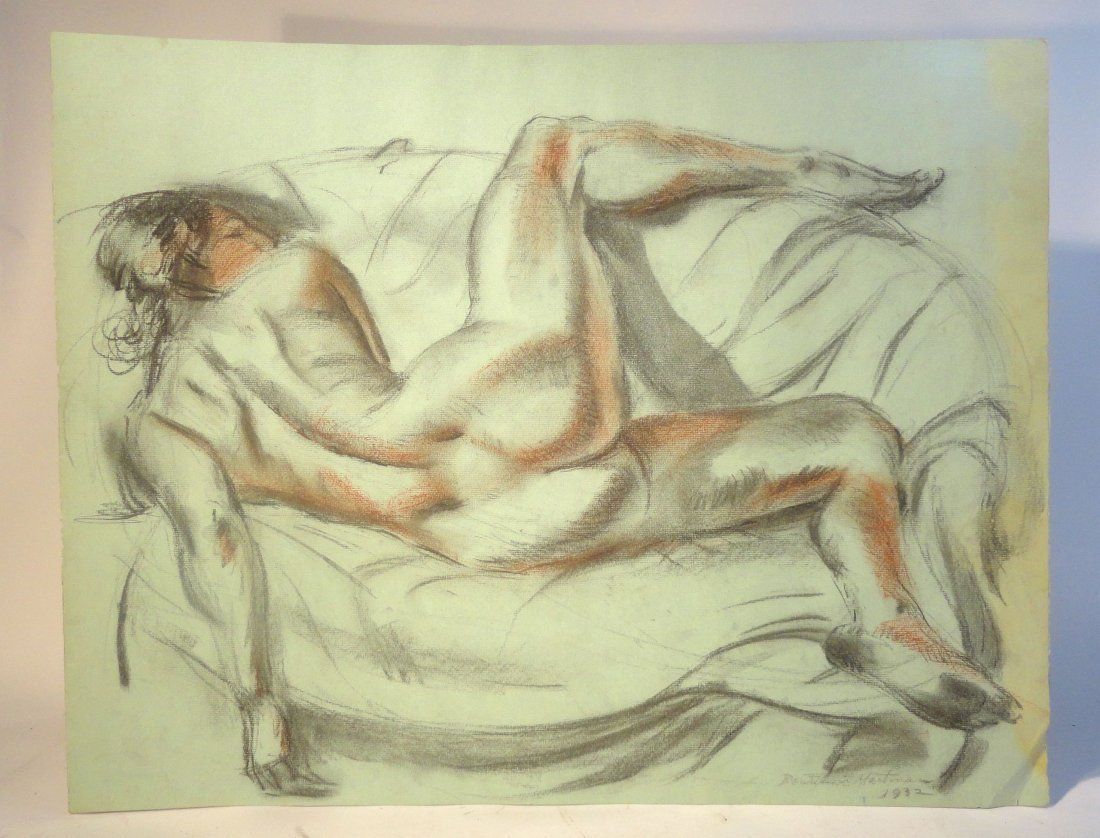 Bertram Hartman Signed Charcoal Drawing of a Nude Woman
