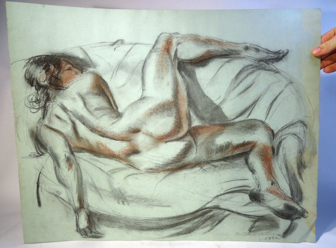 Bertram Hartman Signed Charcoal Drawing of a Nude Woman - 2