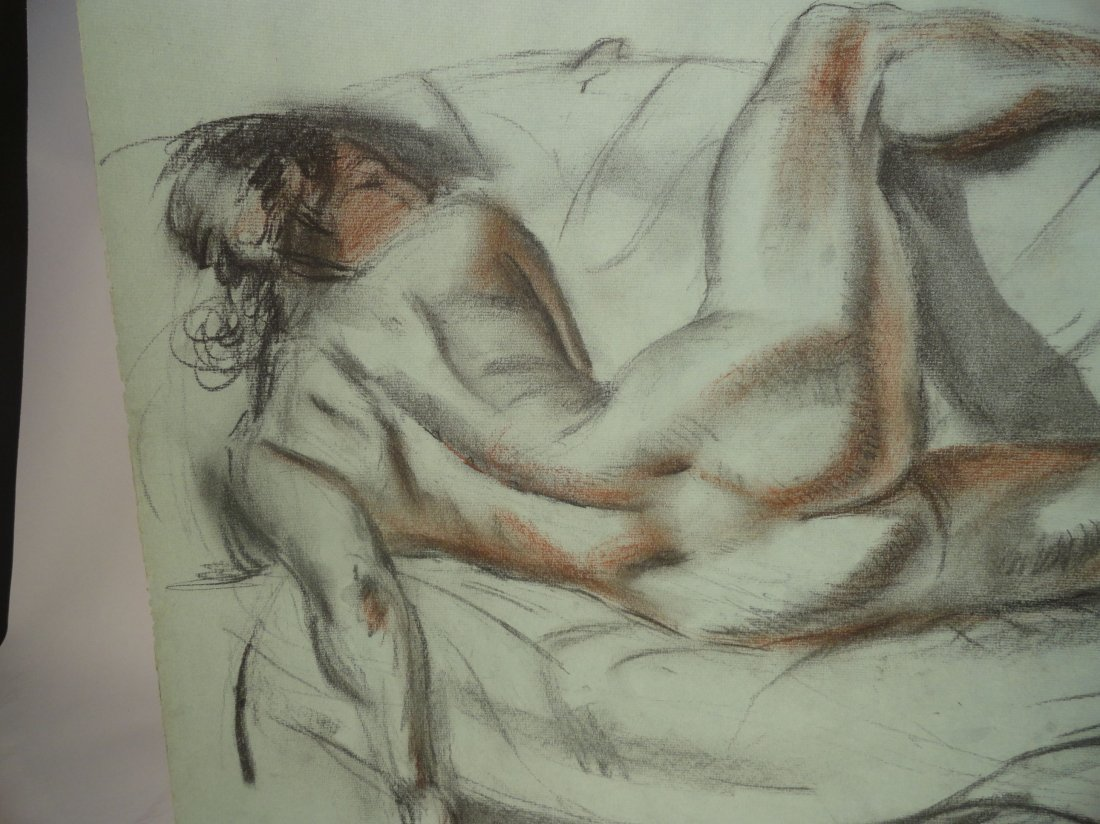 Bertram Hartman Signed Charcoal Drawing of a Nude Woman - 4