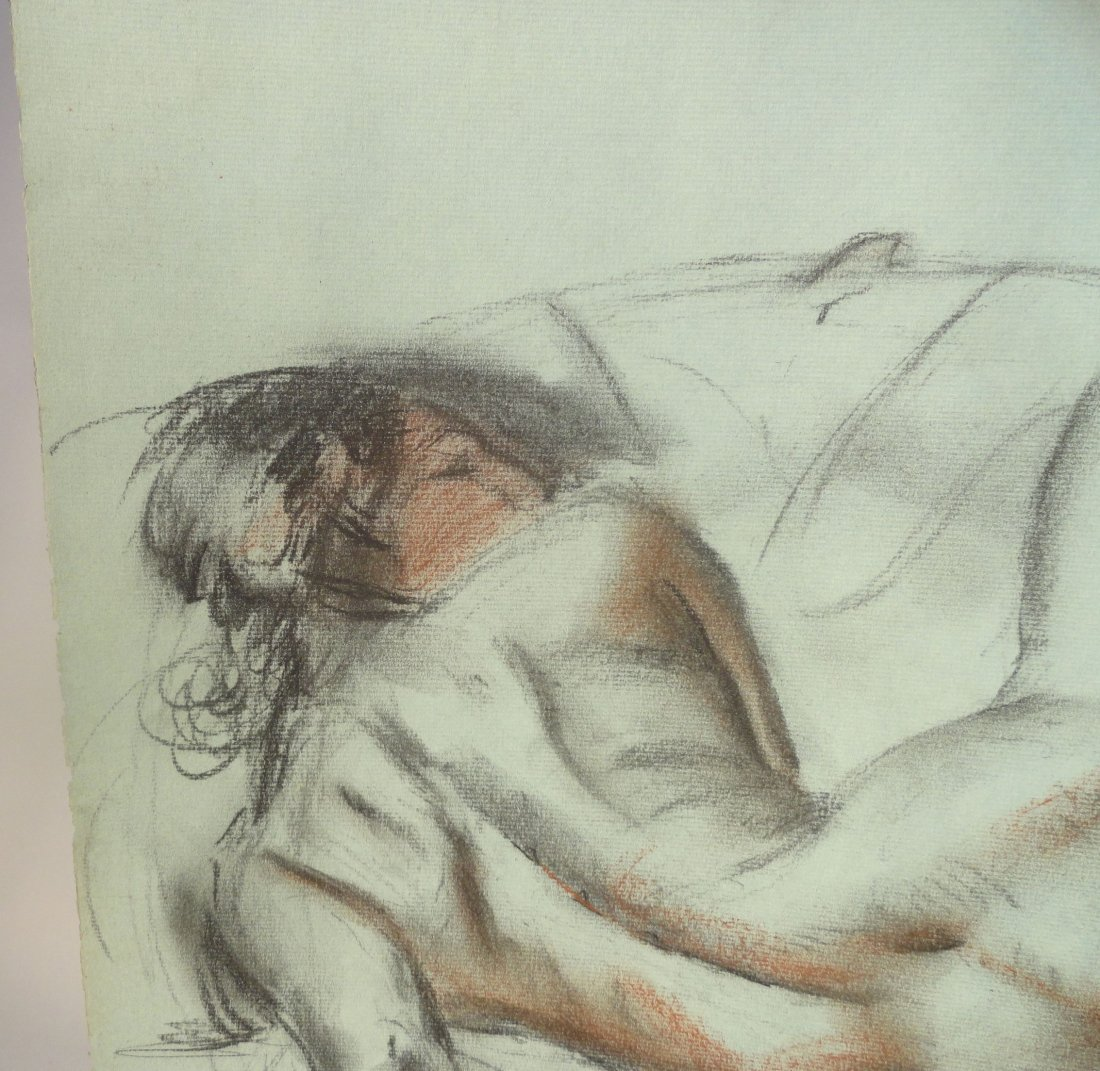 Bertram Hartman Signed Charcoal Drawing of a Nude Woman - 5