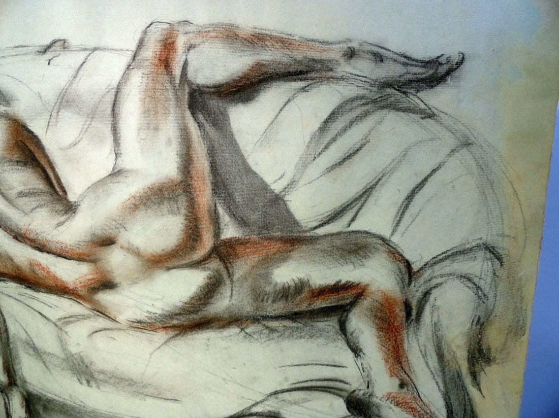 Bertram Hartman Signed Charcoal Drawing of a Nude Woman - 6
