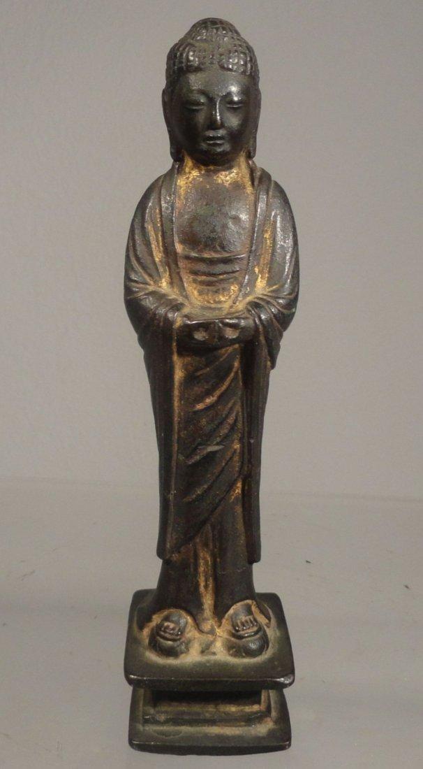 Chinese Liao Dynasty Gilt Bronze Standing Buddha - 2