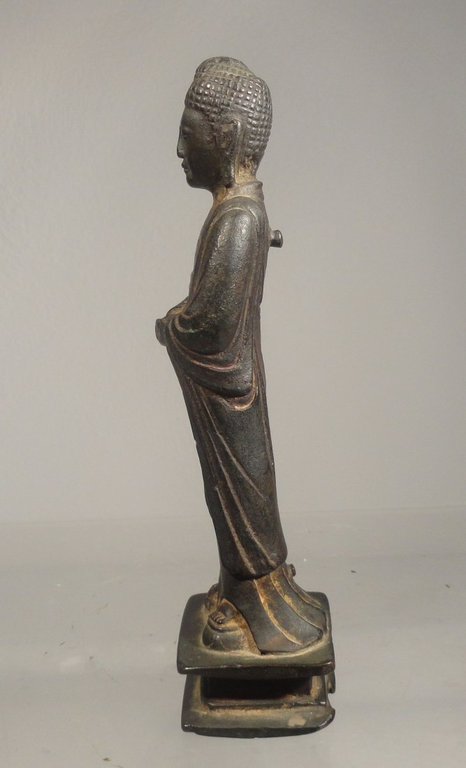 Chinese Liao Dynasty Gilt Bronze Standing Buddha - 3