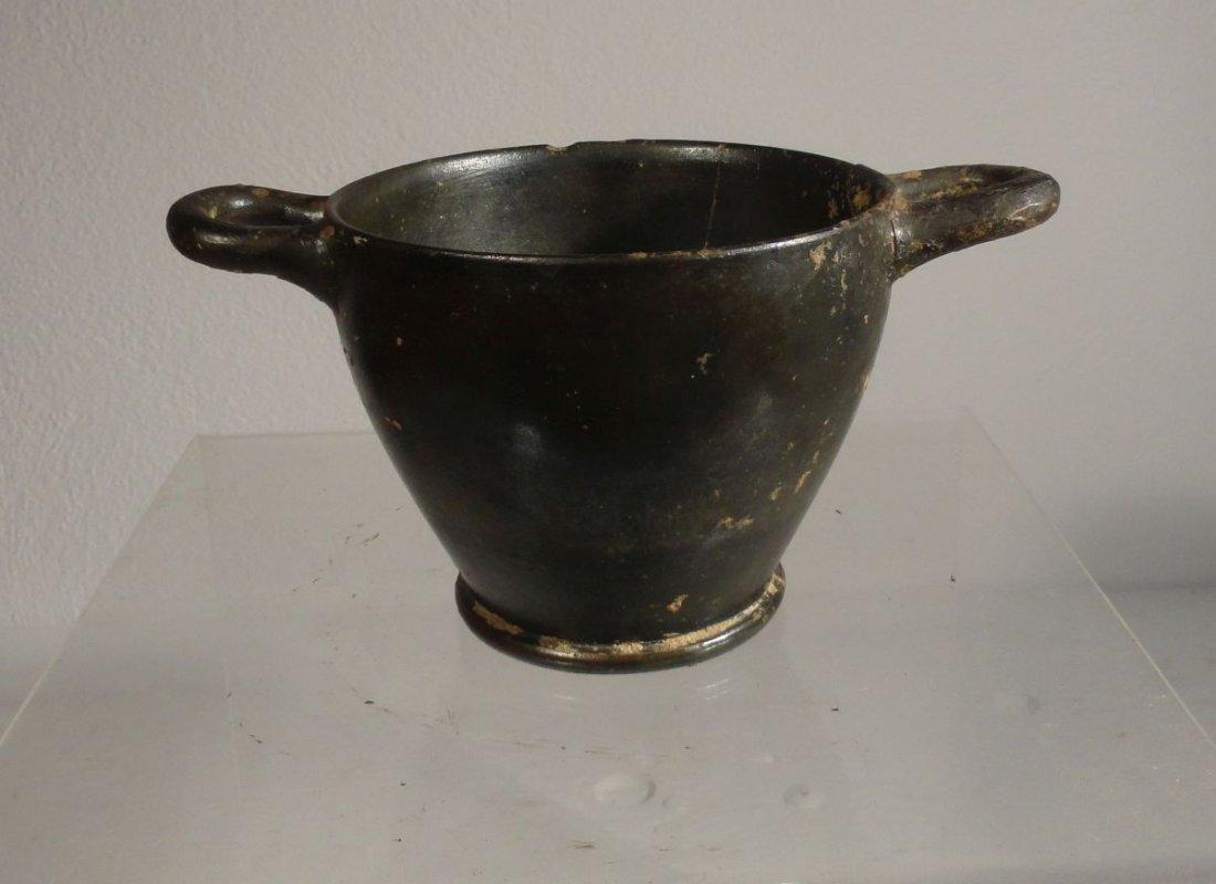 Blackware Luster Greco-Roman Pottery Vessel Apulian